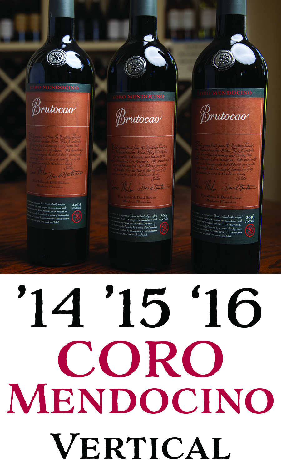 90+ Point Coro Mendocino Vertical - 2014, 2015, 2016 (3 x 750mL)